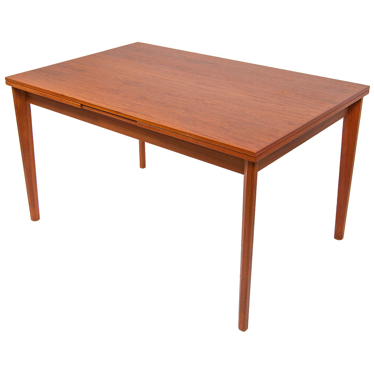 Compact Danish Modern Teak Expanding Dining Table