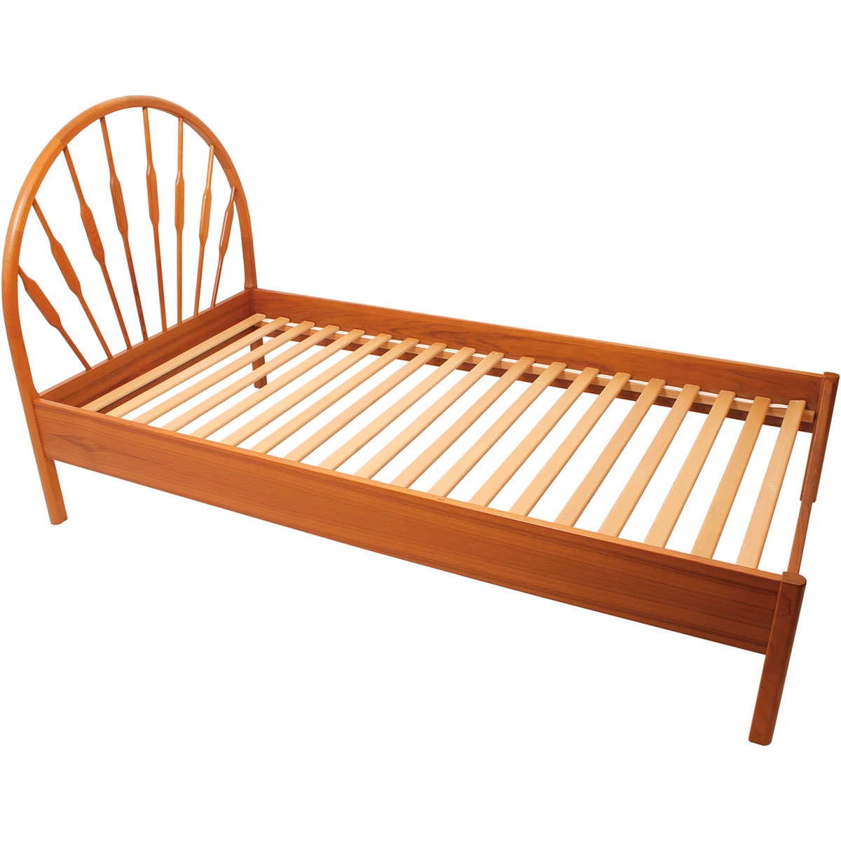 Danish Modern Teak Spindle Twin Bed Frame