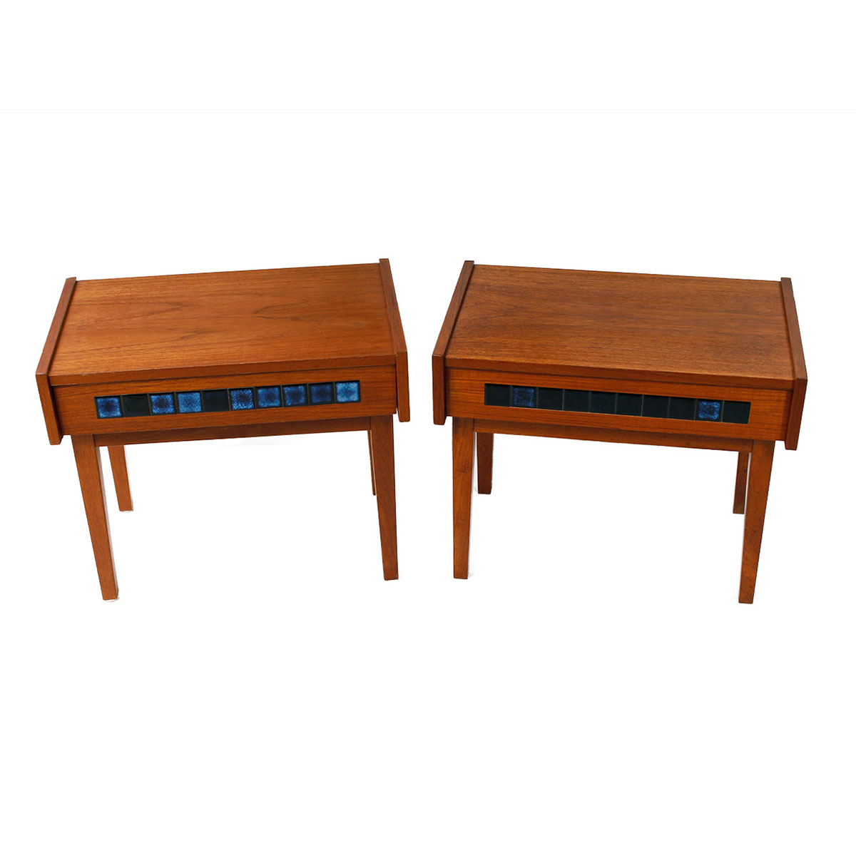 Pair of Petite Danish Teak & Tile Nightstands