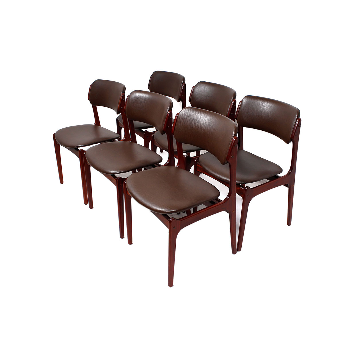 Rosewood Set of 6 Re-upholstered Dining Chairs by Erik Buch