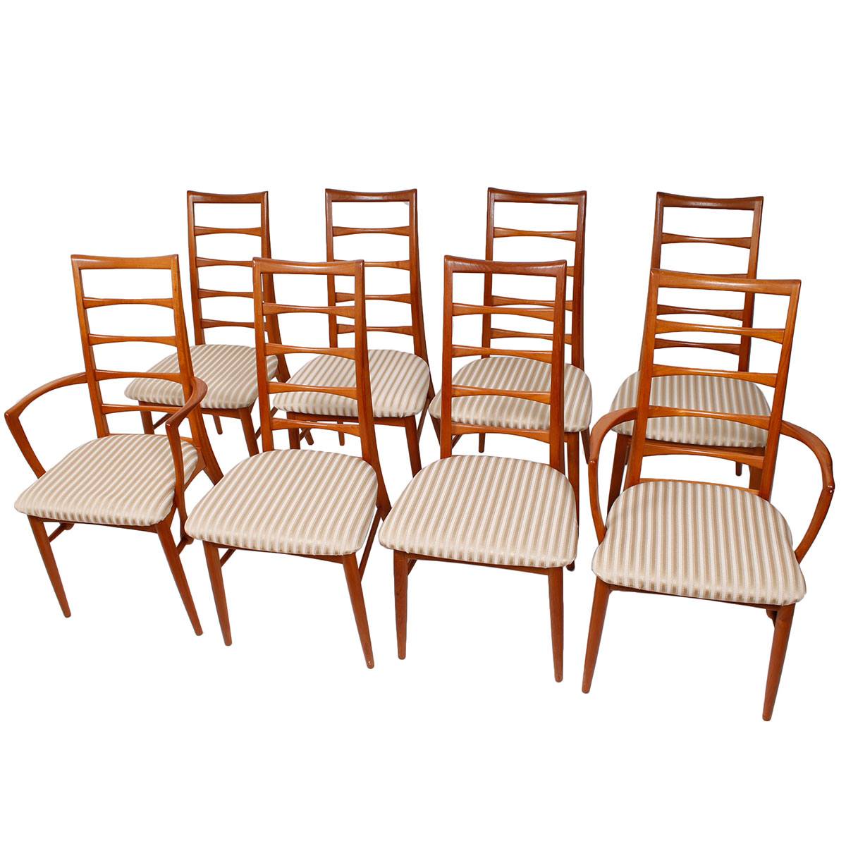 8 Koefoeds Hornslet (2 Arm 6 Side) Teak Dining Chairs