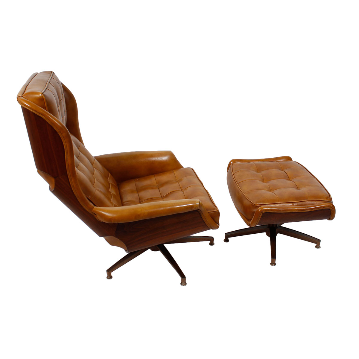 Eames Style MCM Executive Lounge Chair & Ottoman