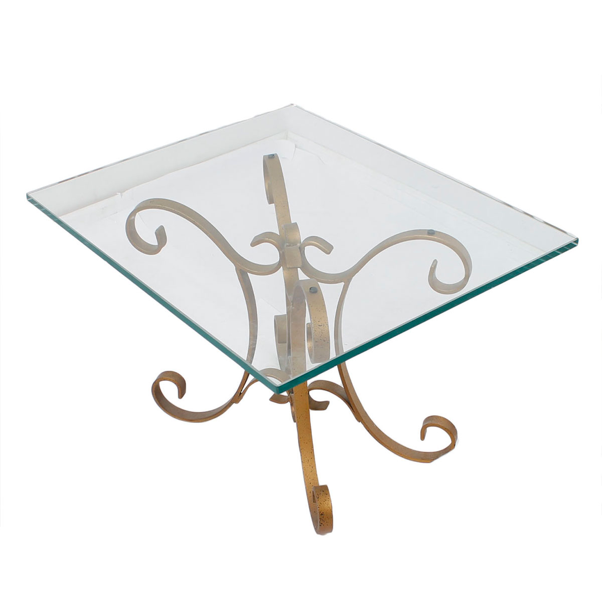 """Pair of Hollywood Regency Glass Top Tables, Brass """"Ribbon"""" Base"""