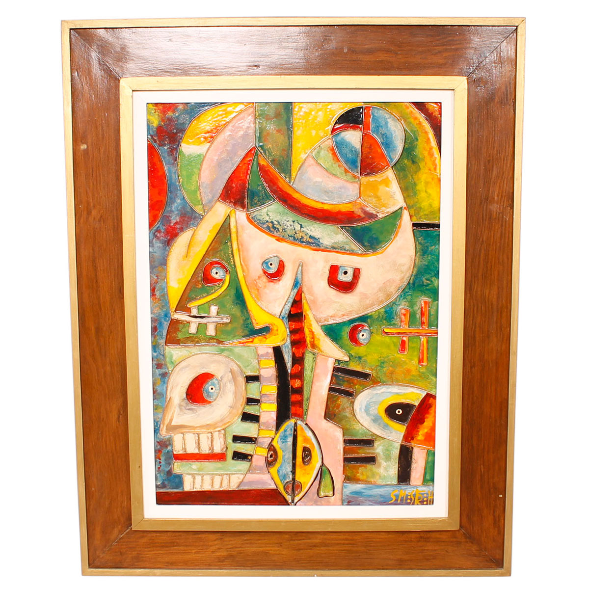 Figural Abstract Enamel Artwork