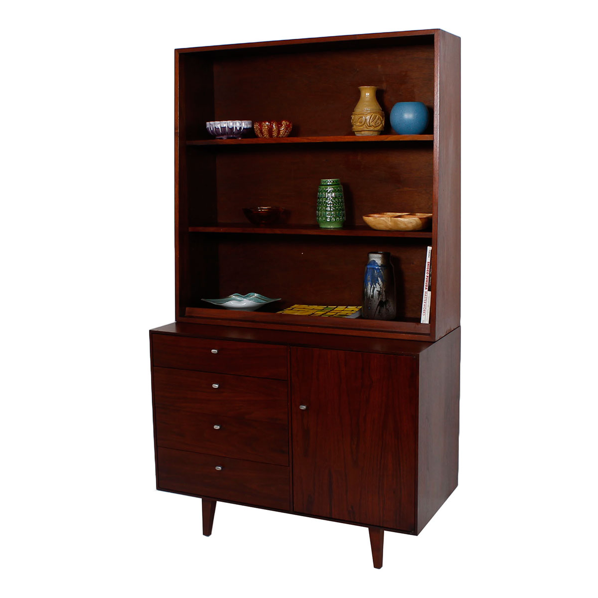 1950s Jens Risom 2-Piece Walnut Display / Compact Storage Cabinet