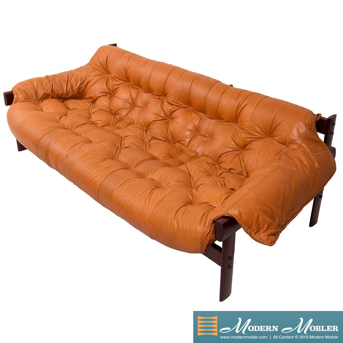 Rare Percival Lafer Brazilian Leather Sofa