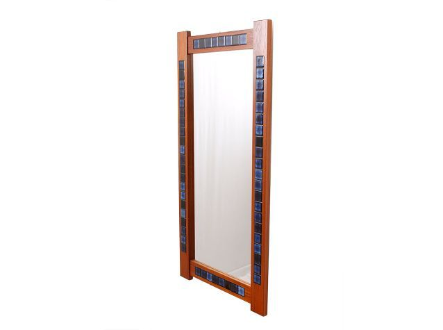 Danish Modern Teak & Tile Mirror