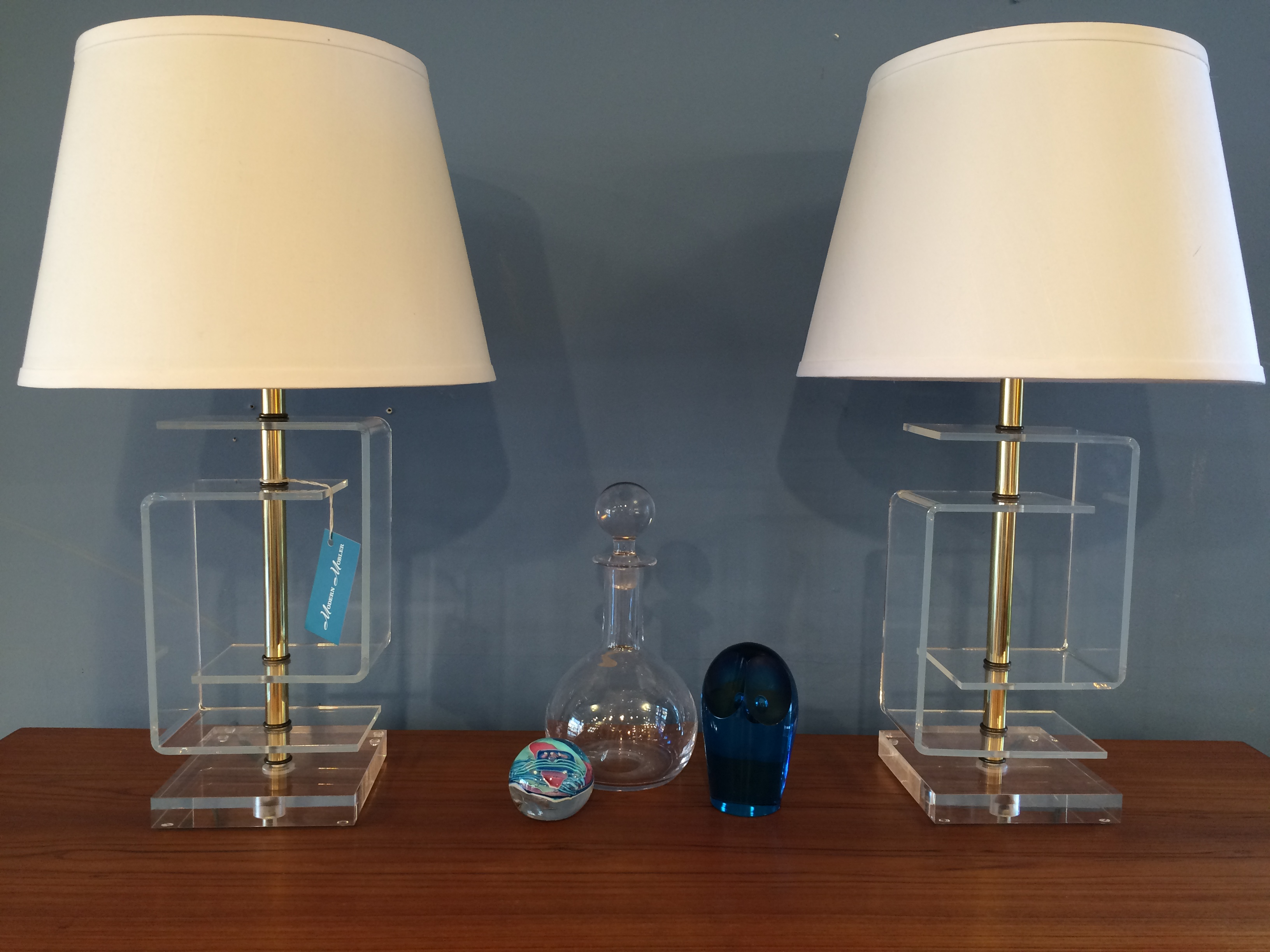 Pair of Decorator Lucite Table Lamps