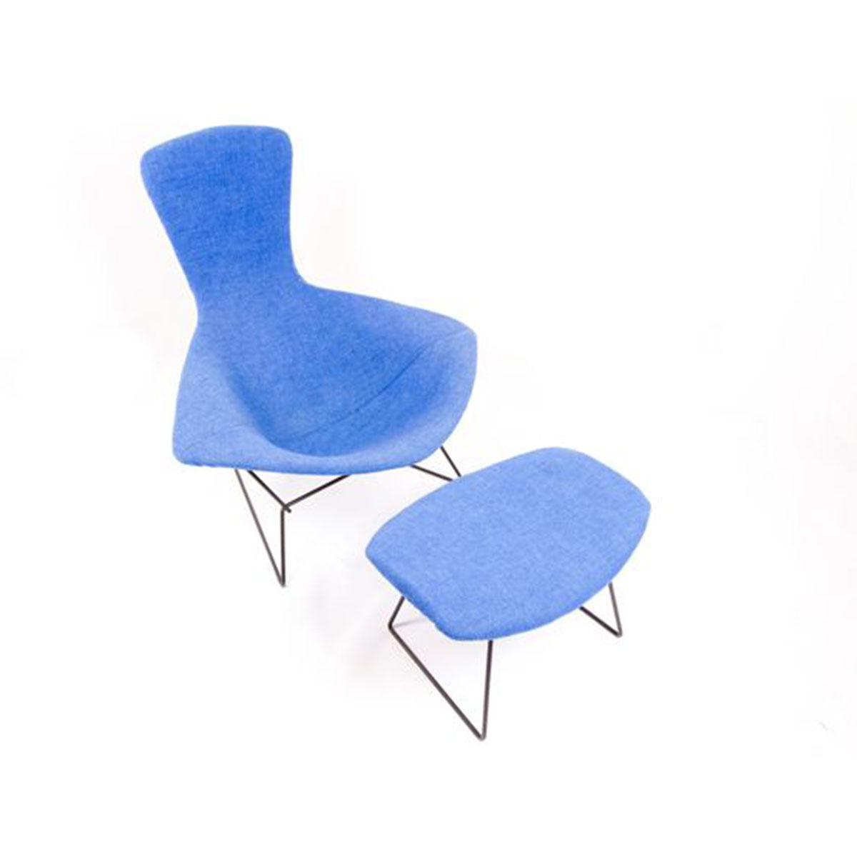 Vintage Bertoia Bird Chair with Full Cover and Ottoman
