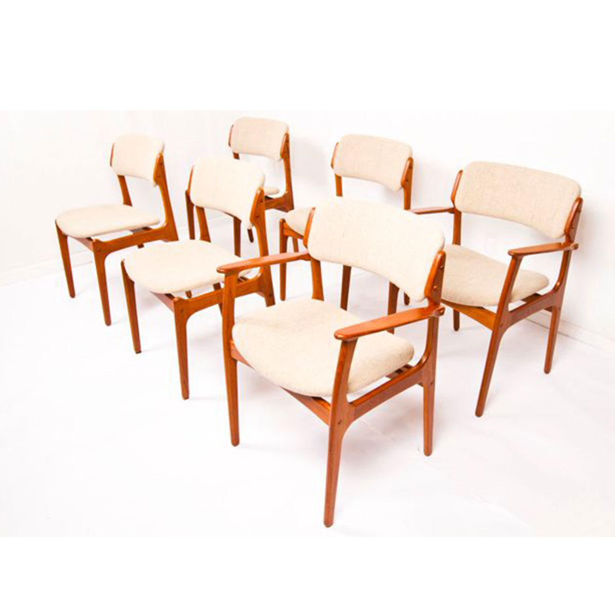 Set of 6 Teak Erik Buch Dining Chairs