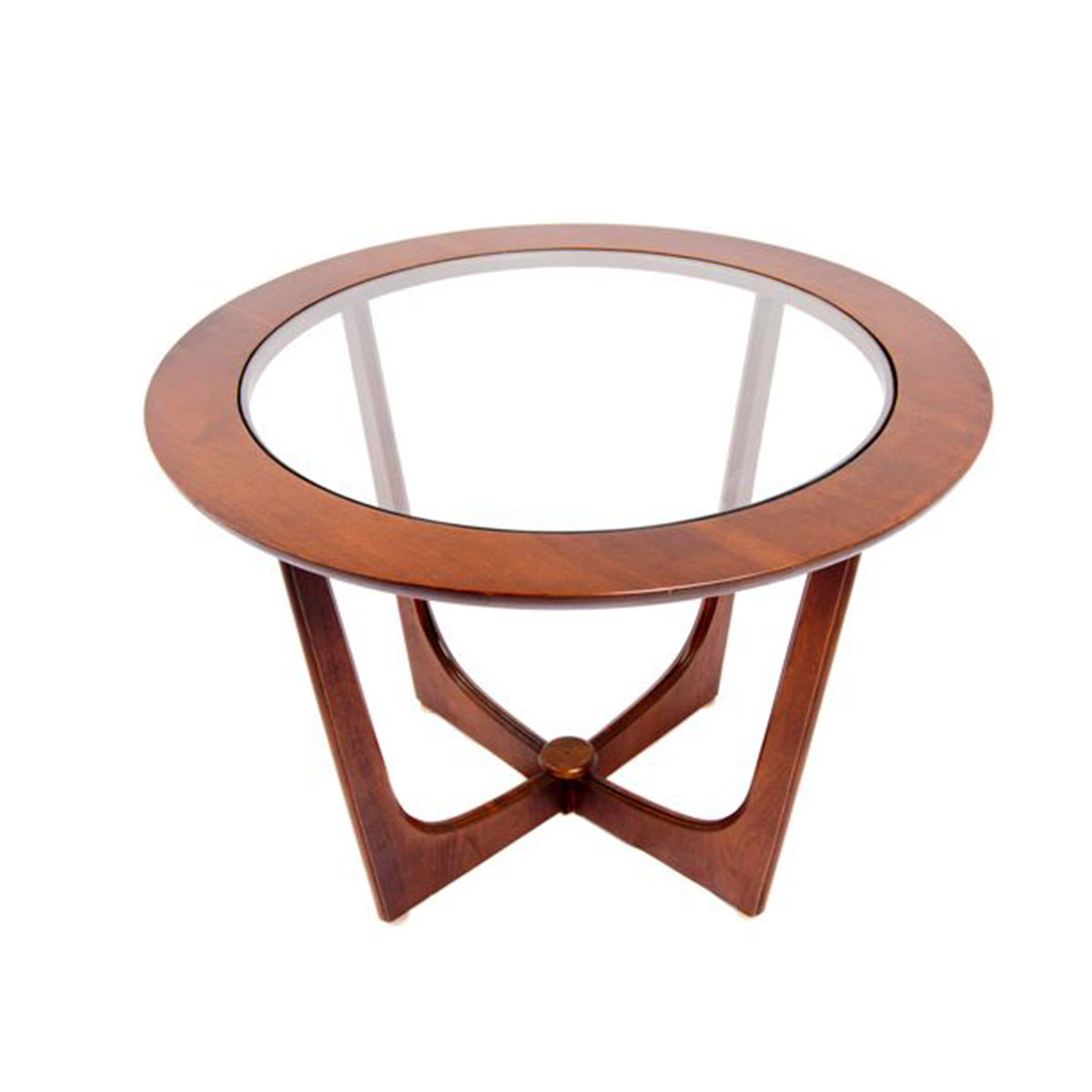 Mid-Century Round Coffee / Accent Table w/ Glass Top