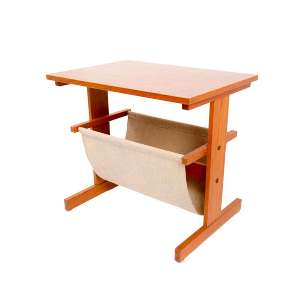 Combination Danish Modern Teak Magazine Holder / Side Table