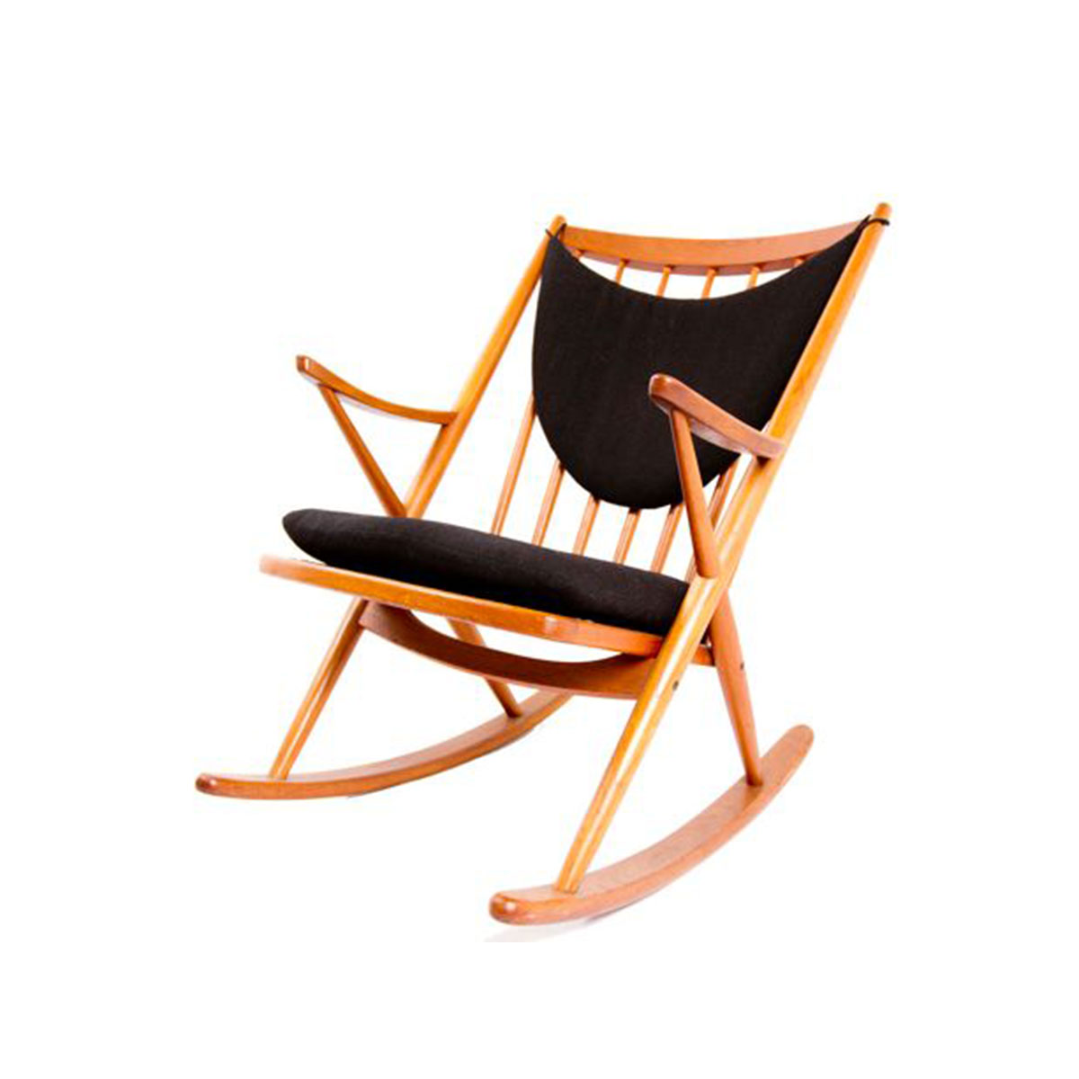 Bramin Danish Modern Teak Designer Rocking Chair w/ Cushions