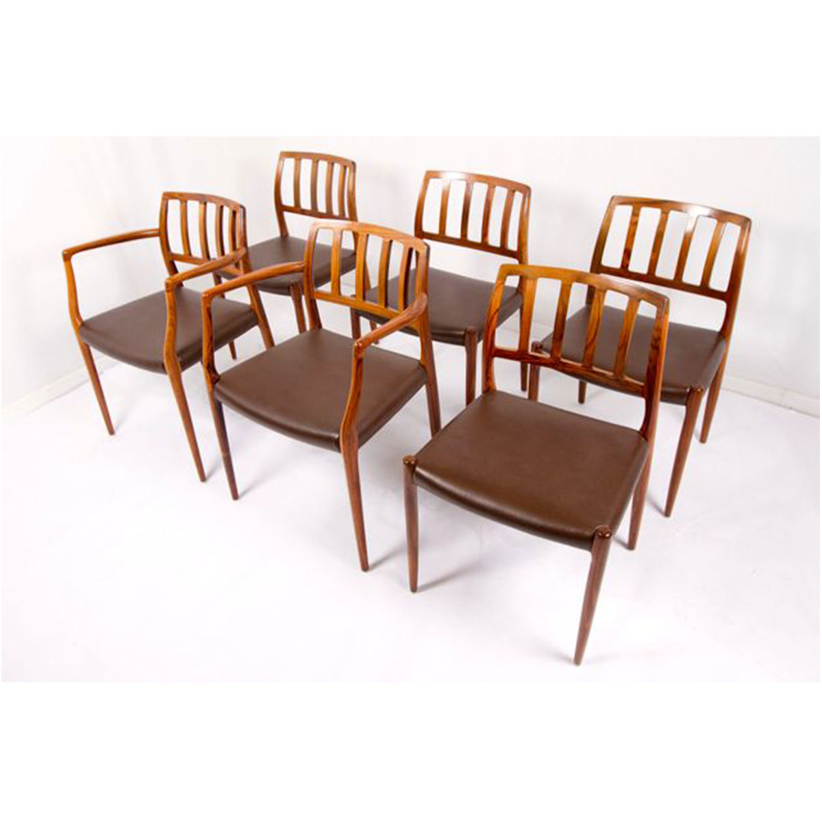 Set of 6 (2 Arm 4 Side) Fabulous Niels Møller Rosewood Dining Chairs w/ New Upholstery!