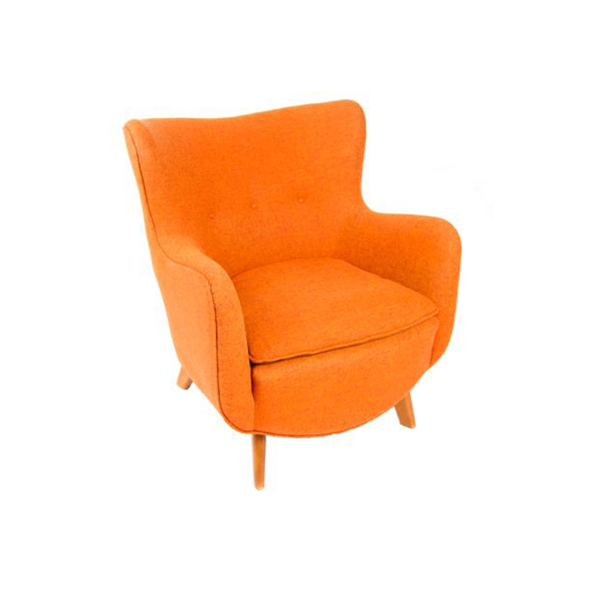 1950's Mid Century Orange Comfy Lounge Chair