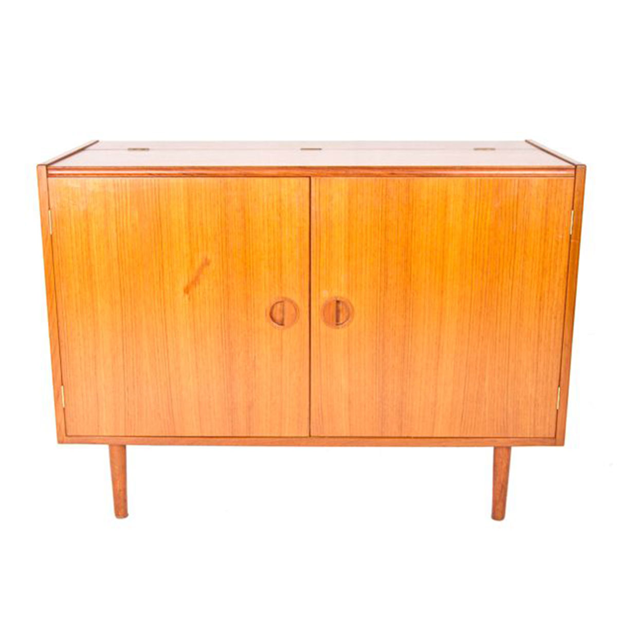 Flip-Up Top 'Mini' Stereo Cabinet / Danish Modern Teak Media Storage