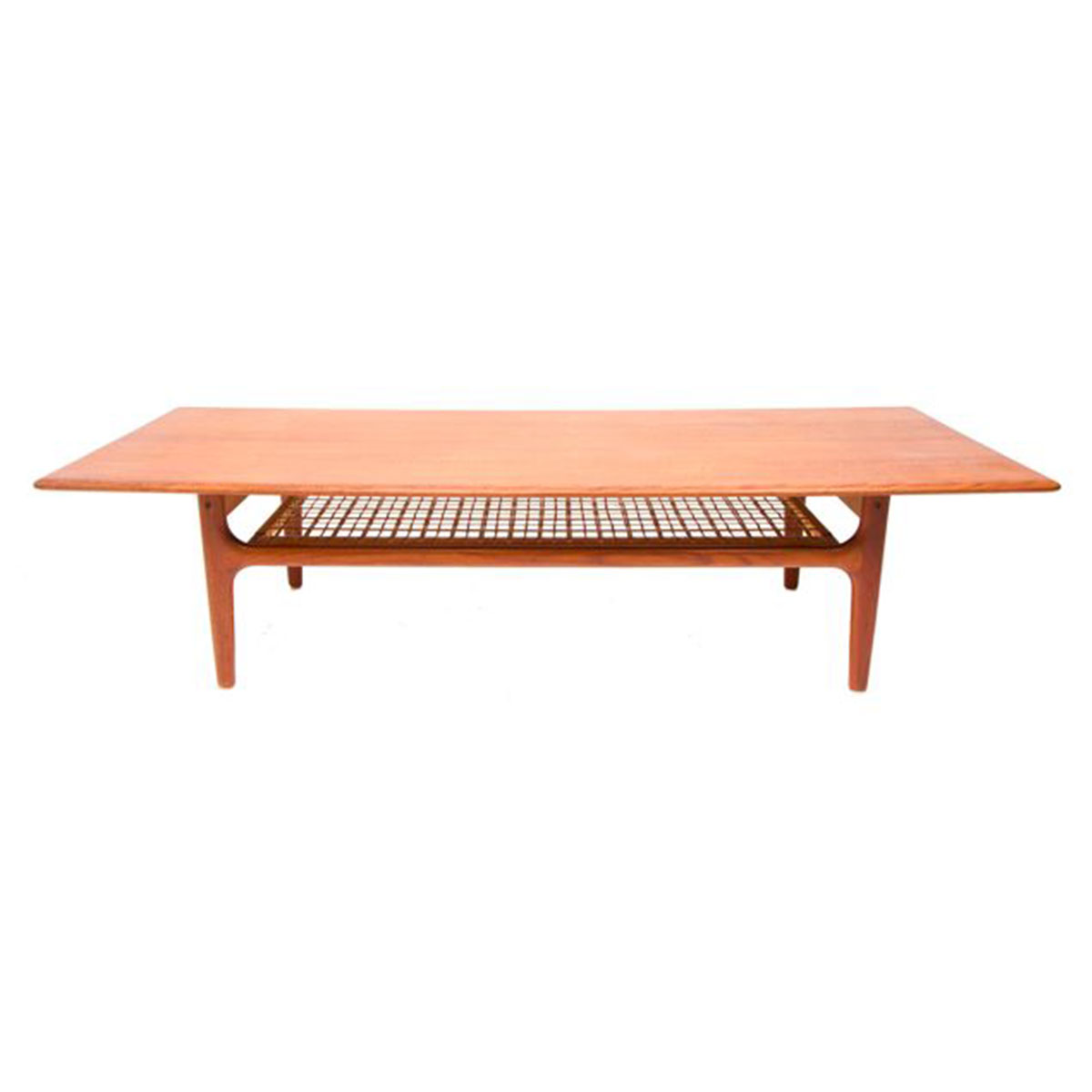 Fabulous Large Scale Teak Coffee Table with Cane Shelf