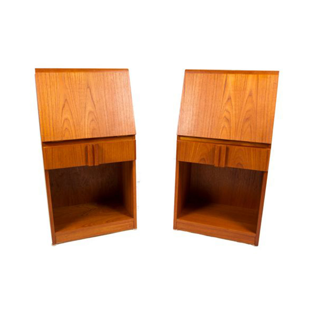 Pair of Tall and Slim Danish Modern Teak Night Stands – Side Tables with Stylish Pulls