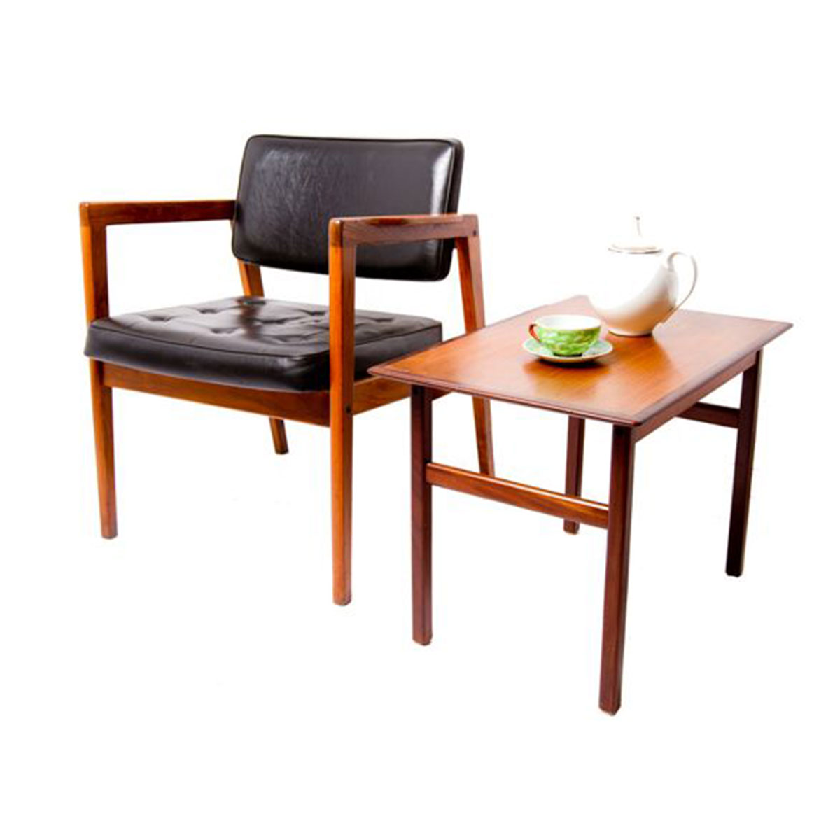 Mini Danish Modern Teak Accent – Side Table with Rosewood Accents