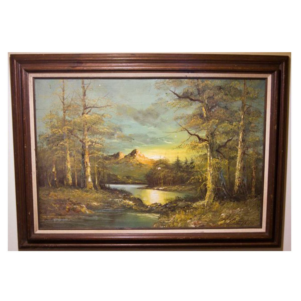 Vintage Mountain, Forest and River Painting