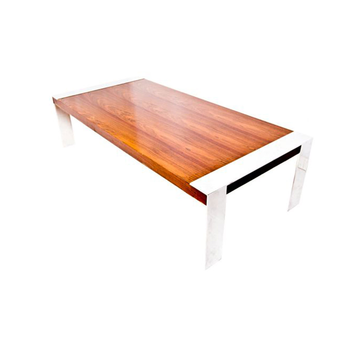Milo Baughman Large Rio Rosewood and Chrome Coffee Table