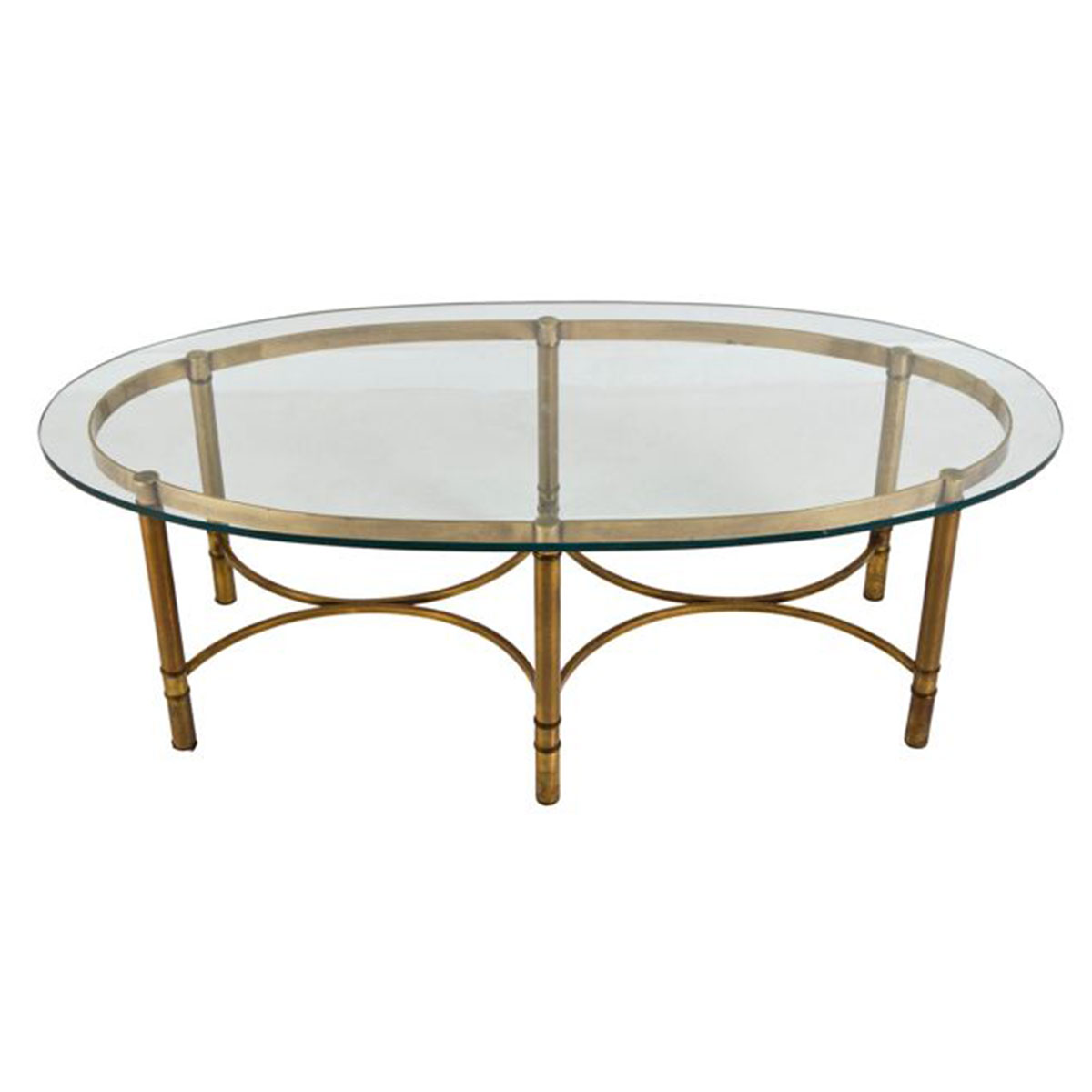 LaBarge Oval Glass and Brass Glamorous Cocktail Table