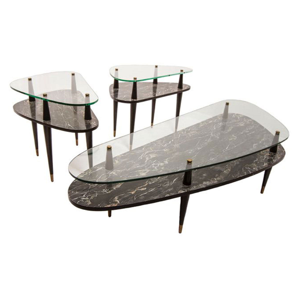 Set of 3 Two-Tier Glass Coffee Table and 2 Side Tables