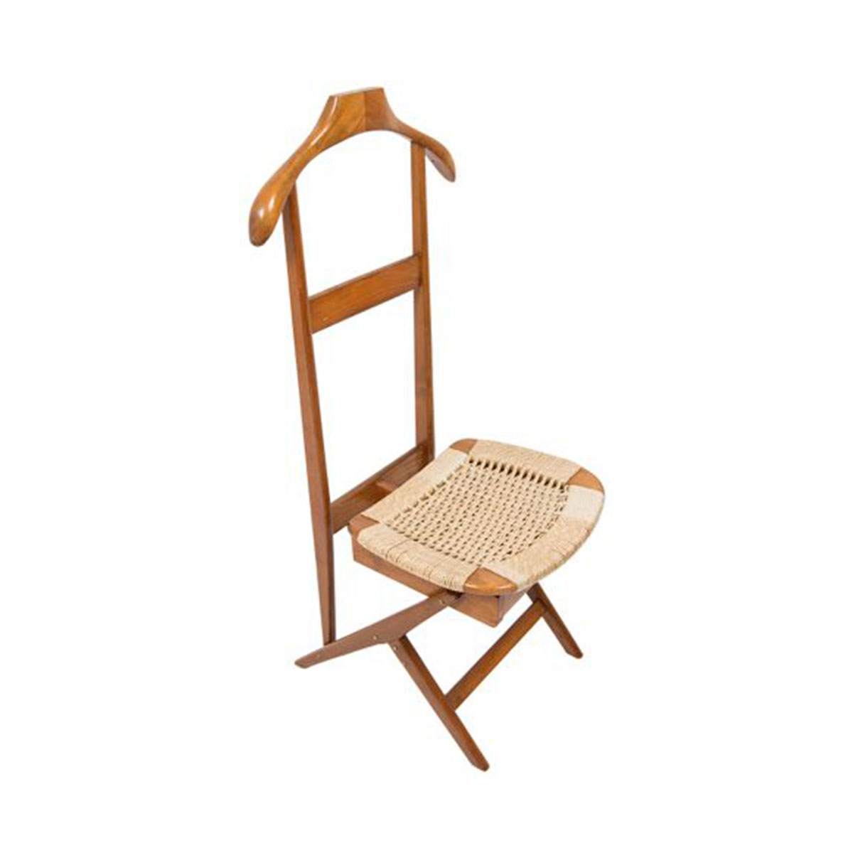 Tall Danish Cord Valet Chair and Coat Rack
