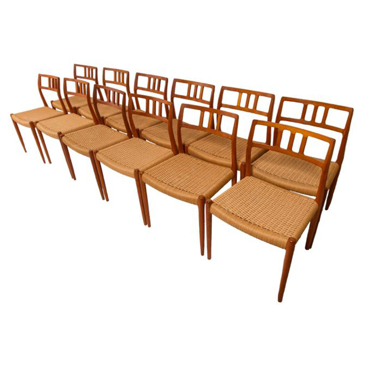 Set of 12 Danish Teak Niels Møller Model 79 Dining Chairs