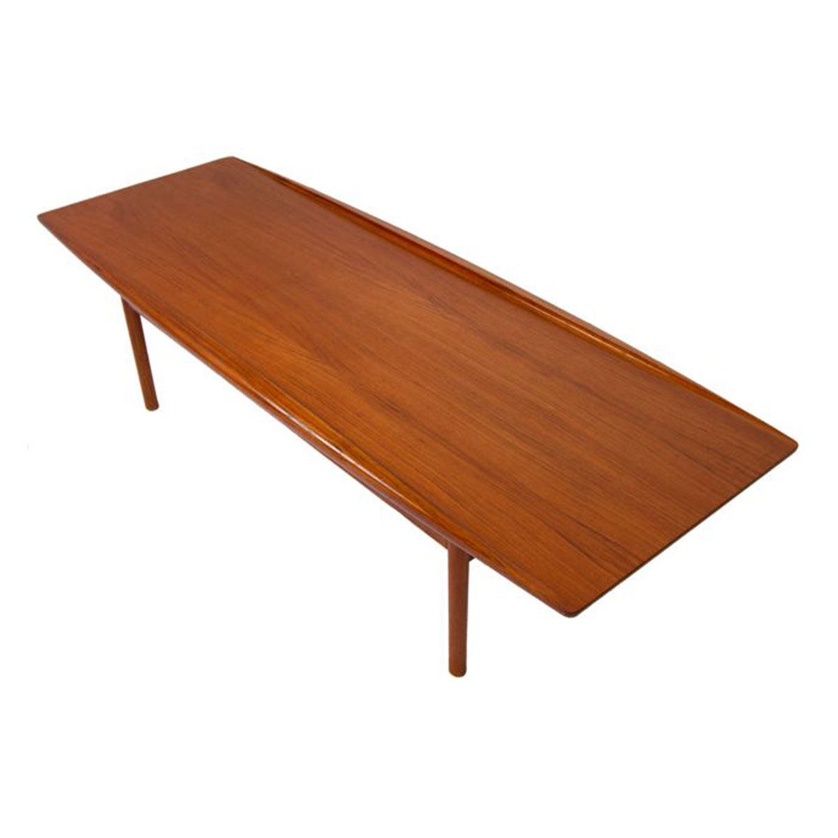 Grete Jalk Long Danish Modern Teak Surfboard Coffee Table