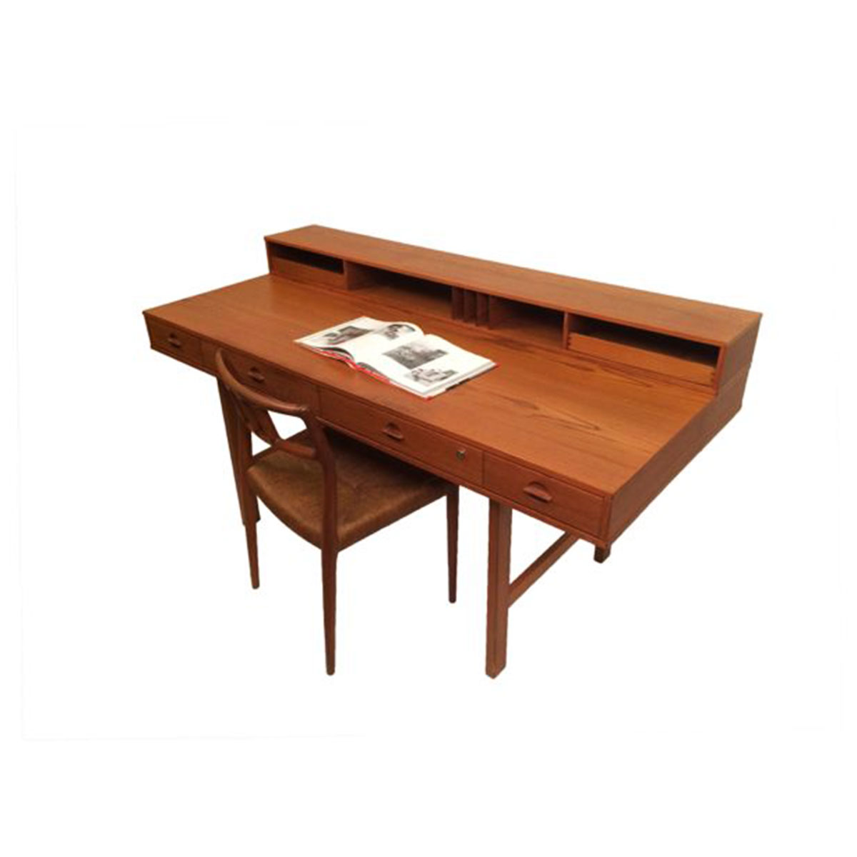 1975 Lovig 'Flip-Top' Danish Modern Teak Partner's Desk