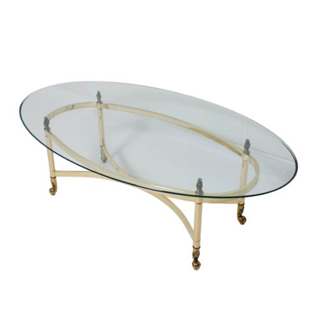 LaBarge Oval Glass & Brass Glamorous Cocktail Table