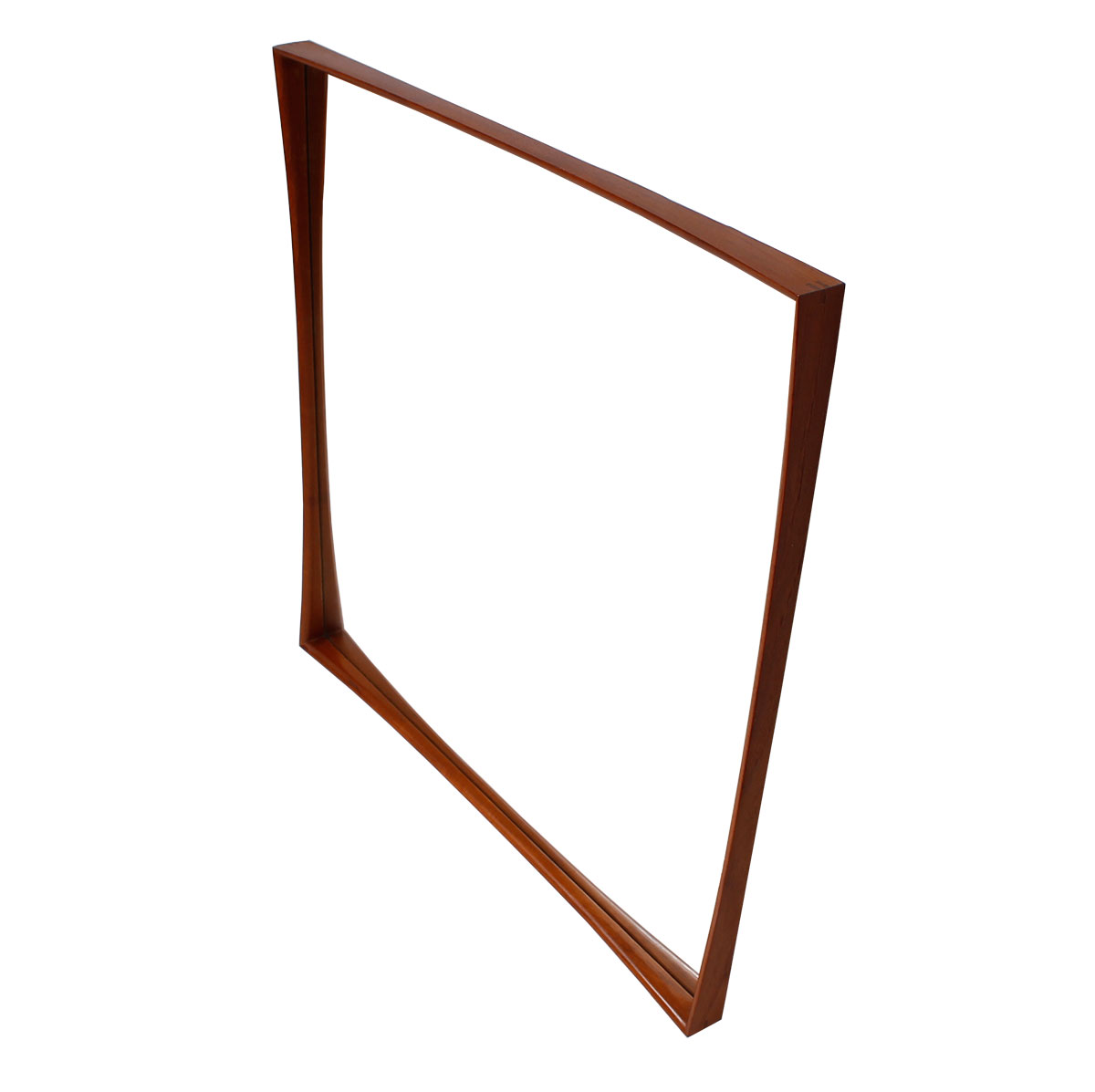 Danish Modern Teak Decorator Mirror w/ Concave Shaped Frame