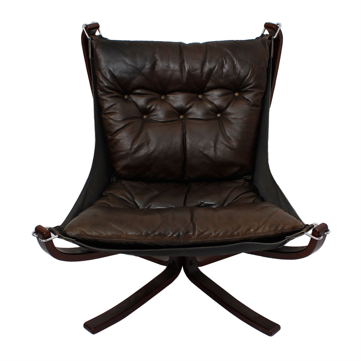 Norwegian Rosewood Leather 'Falcon' Lounge Chair