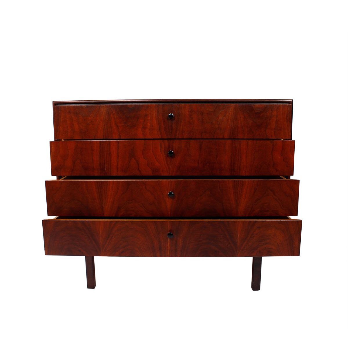 Compact MCM Walnut Chest – Low Dresser
