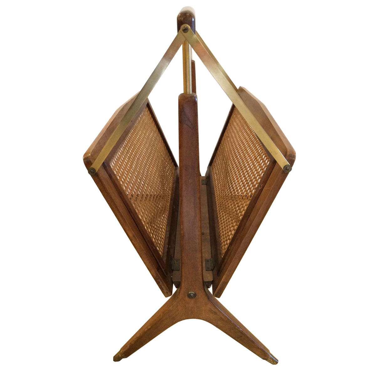 Ico Parisi Italian Folding Magazine Rack in Walnut, Brass & Caning