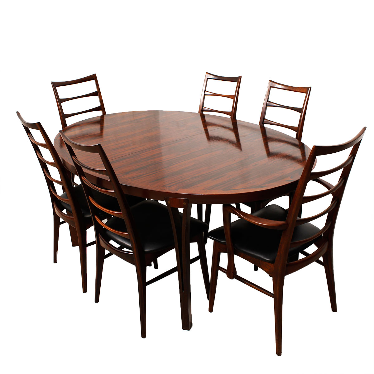 Danish Modern Rosewood Oval Expanding Dining Table