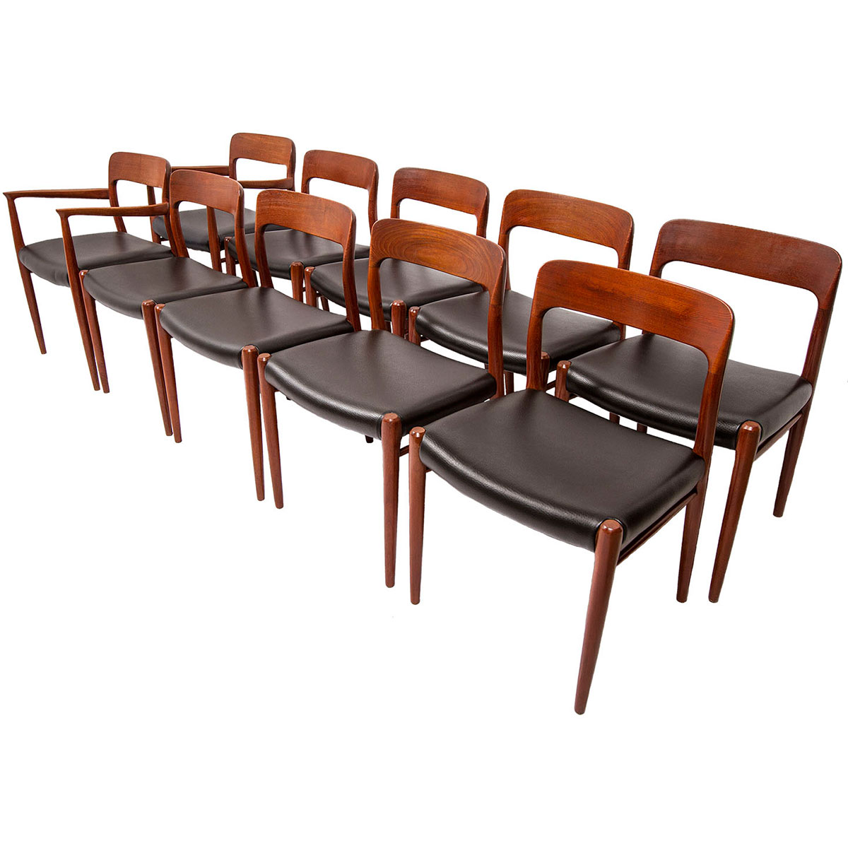 Set of 10 (2 Arm + 8 Side) Niels Møller #56 & #75 Teak Dining Chairs w/ New Upholstery