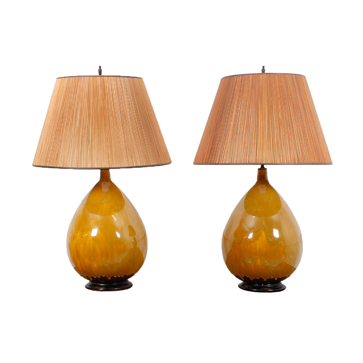 Pair of MCM Ovoid Form Drip Glaze Pottery Lamps