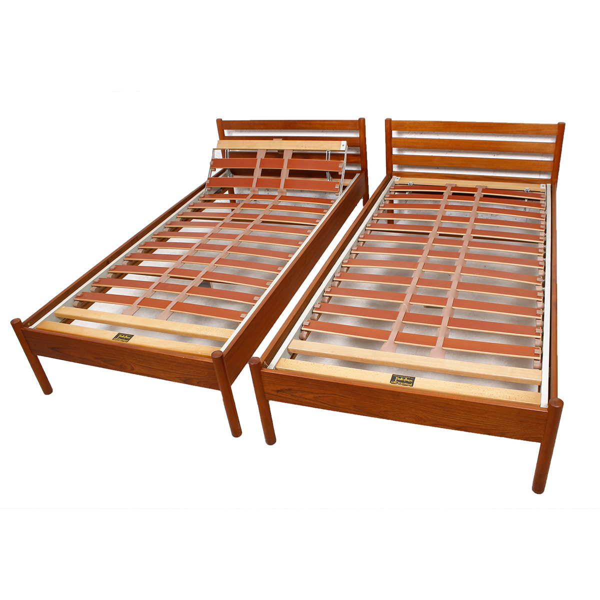 Extremely Rare Pair Danish Teak Hans Wegner Adjustable Single Beds
