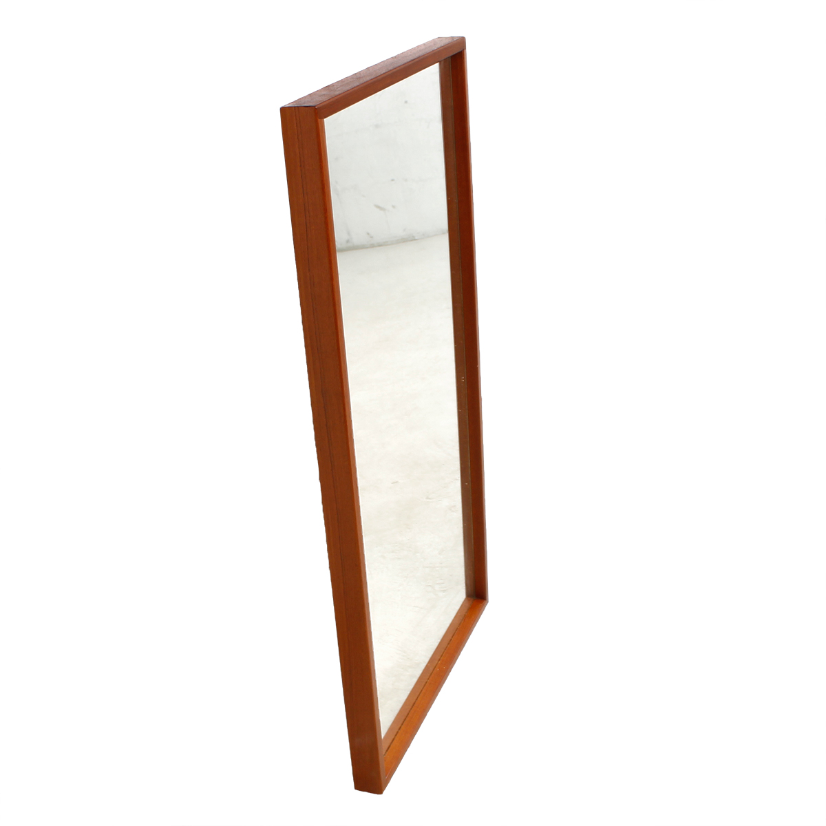 Danish Modern Teak Compact Mirror with Beveled Edges