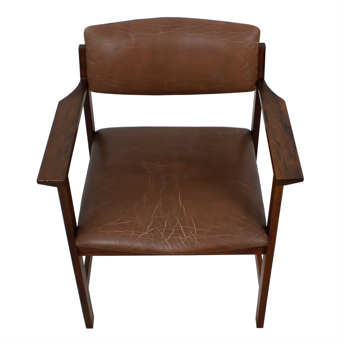 Danish Modern Rosewood Brown Leather Arm Chair