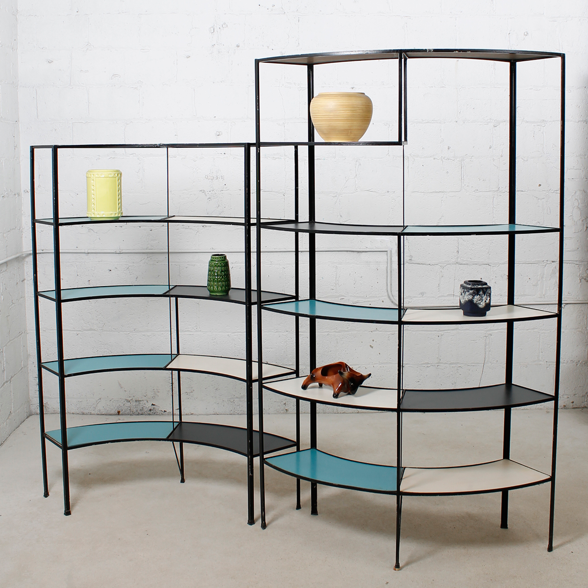 Rare Set of Frederick Weinberg Multi-Color Curved Shelving Units