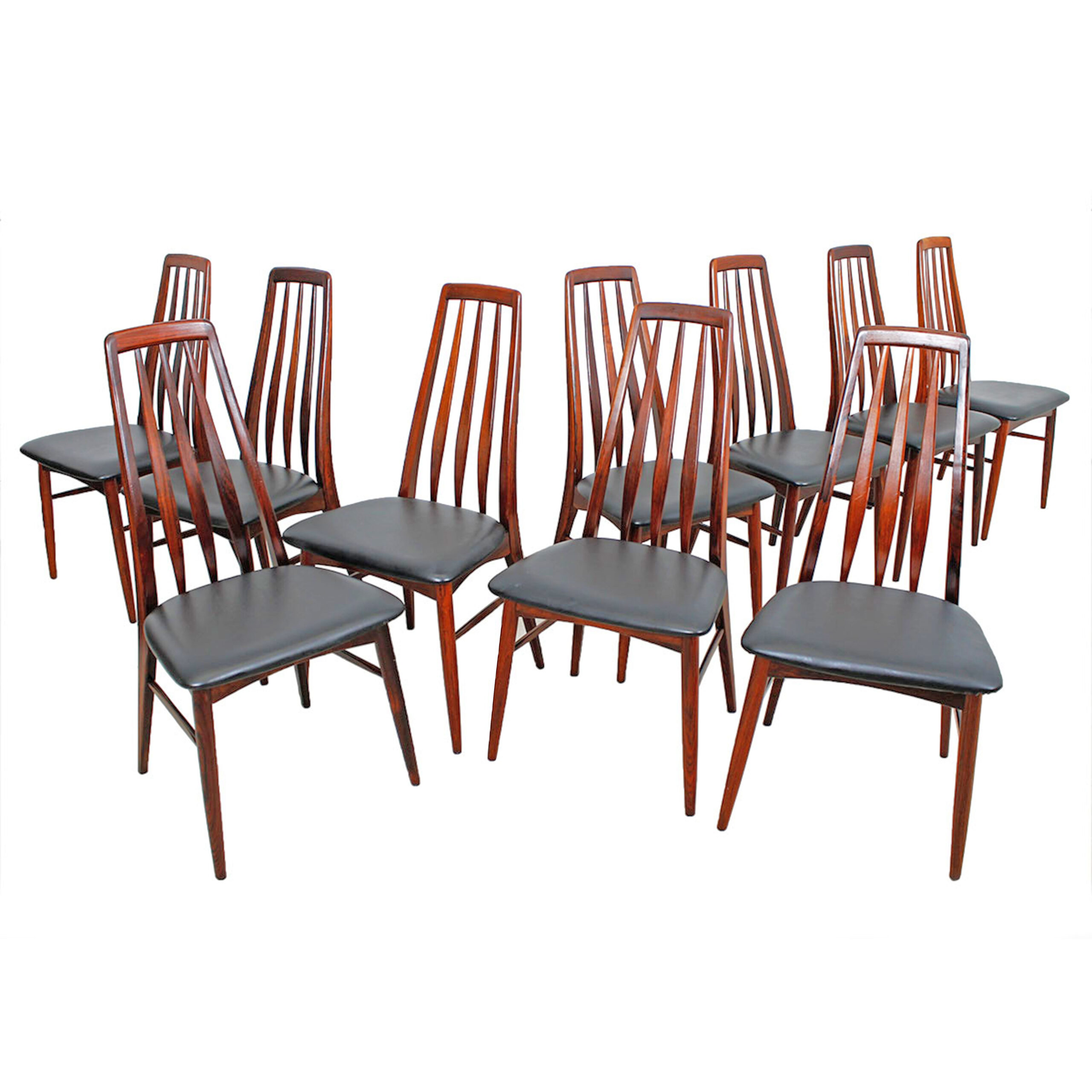 Stunning Set of 10 Danish Rosewood Dining Chairs