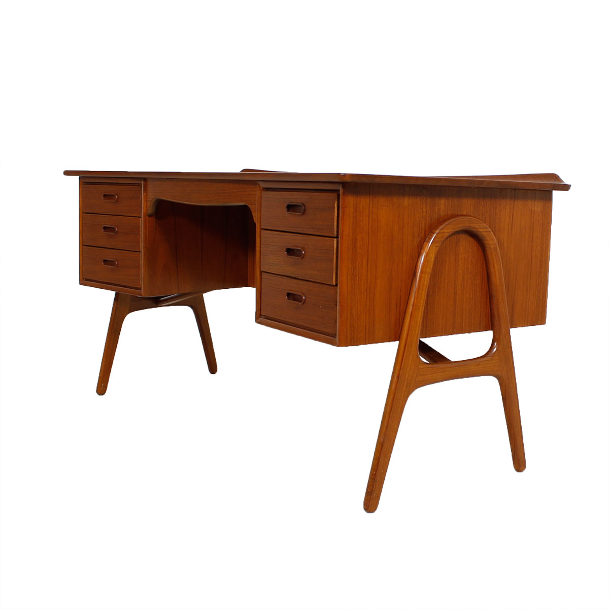 Curved Teak Executive Desk with Hairpin Legs – Compact Size!