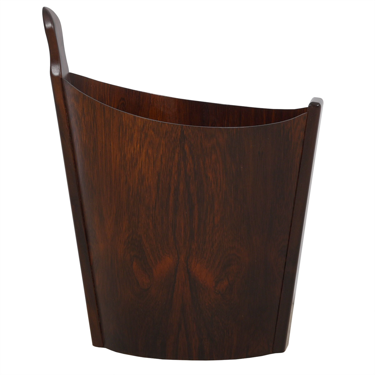Rare Danish Rosewood Sculptural Waste Basket by Westnofa