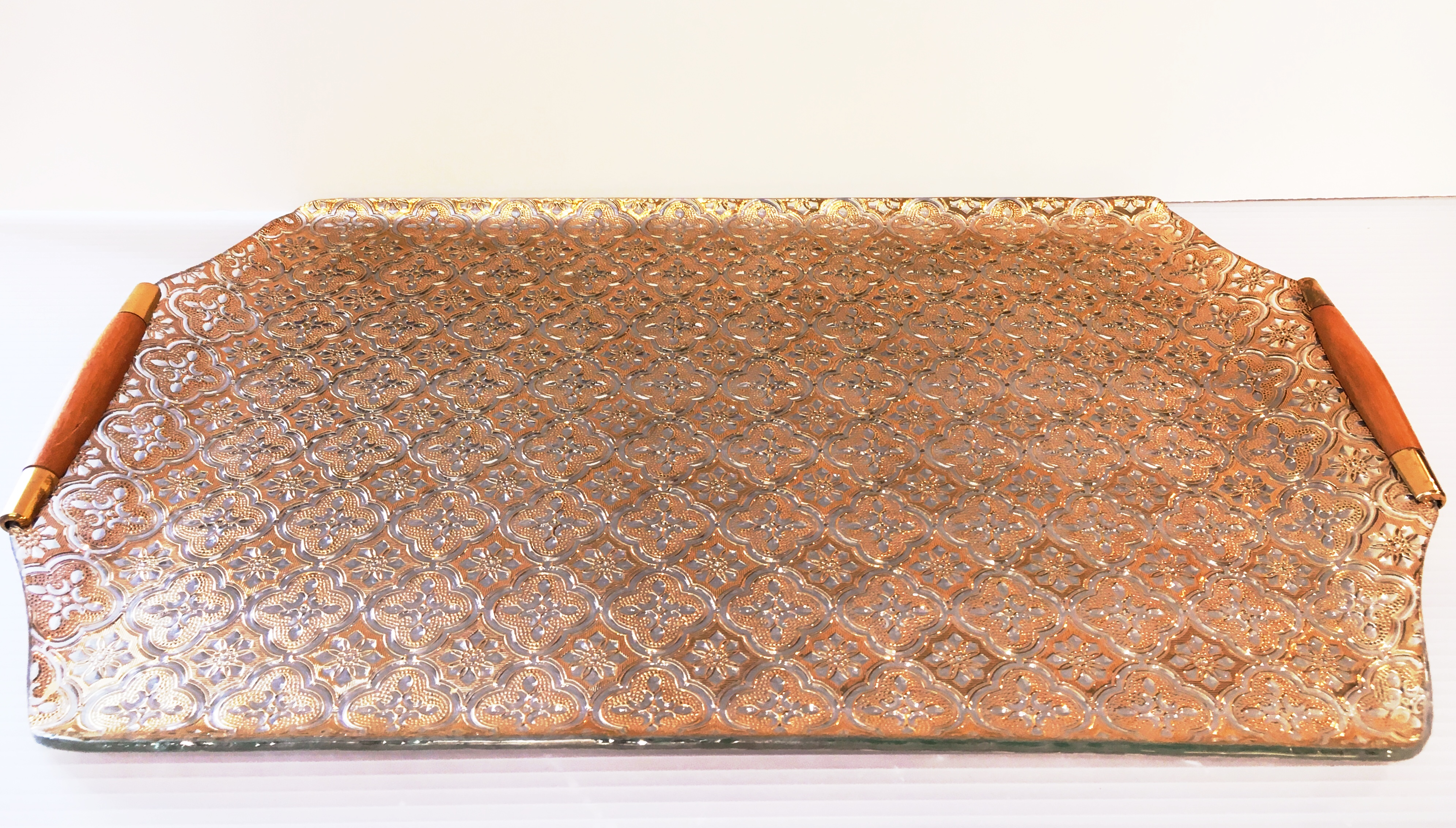 Vintage Georges Briard Embossed Glass & Gold Drinks Tray with Walnut Handles