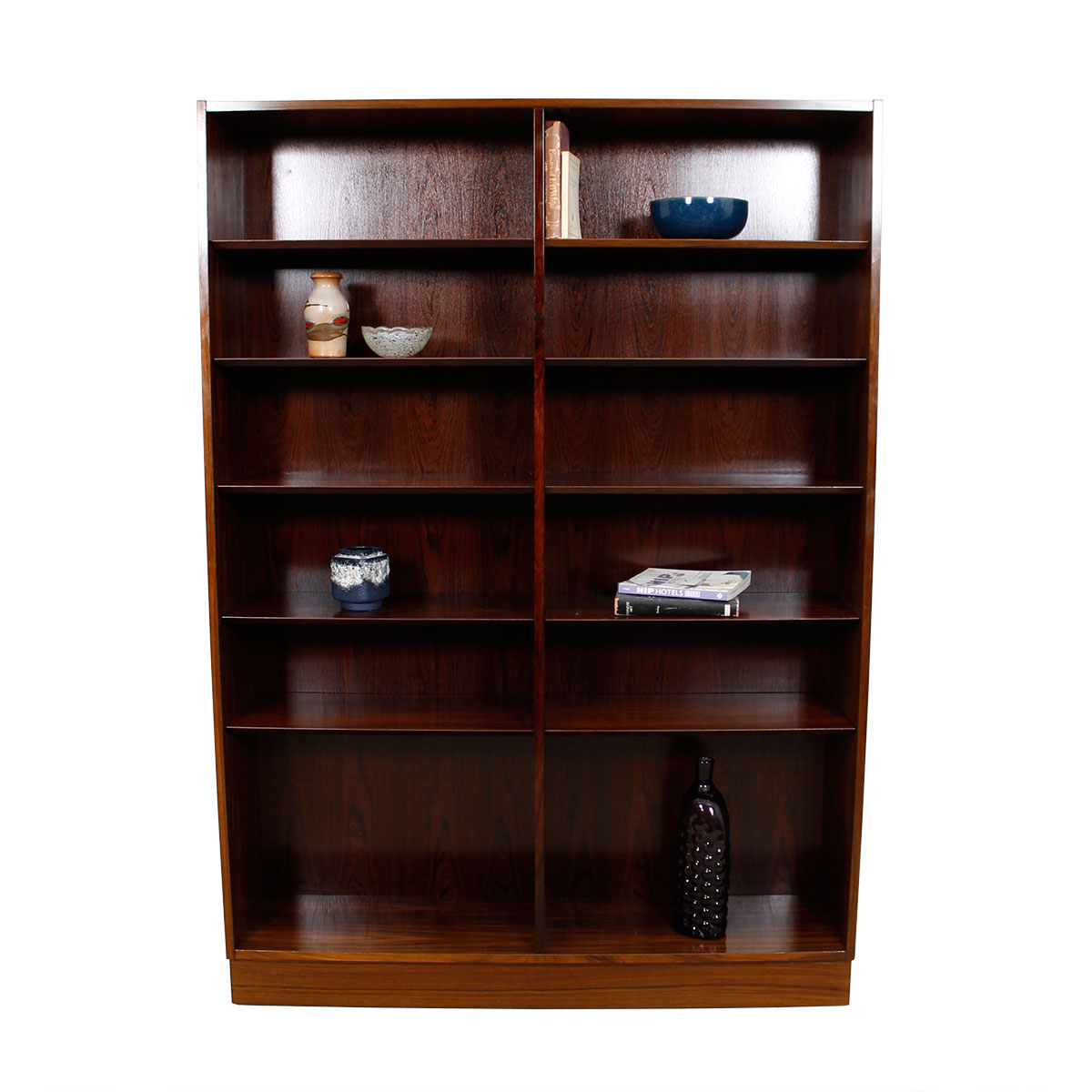 Danish Modern Rosewood Tall Adjustable Shelf Bookcase