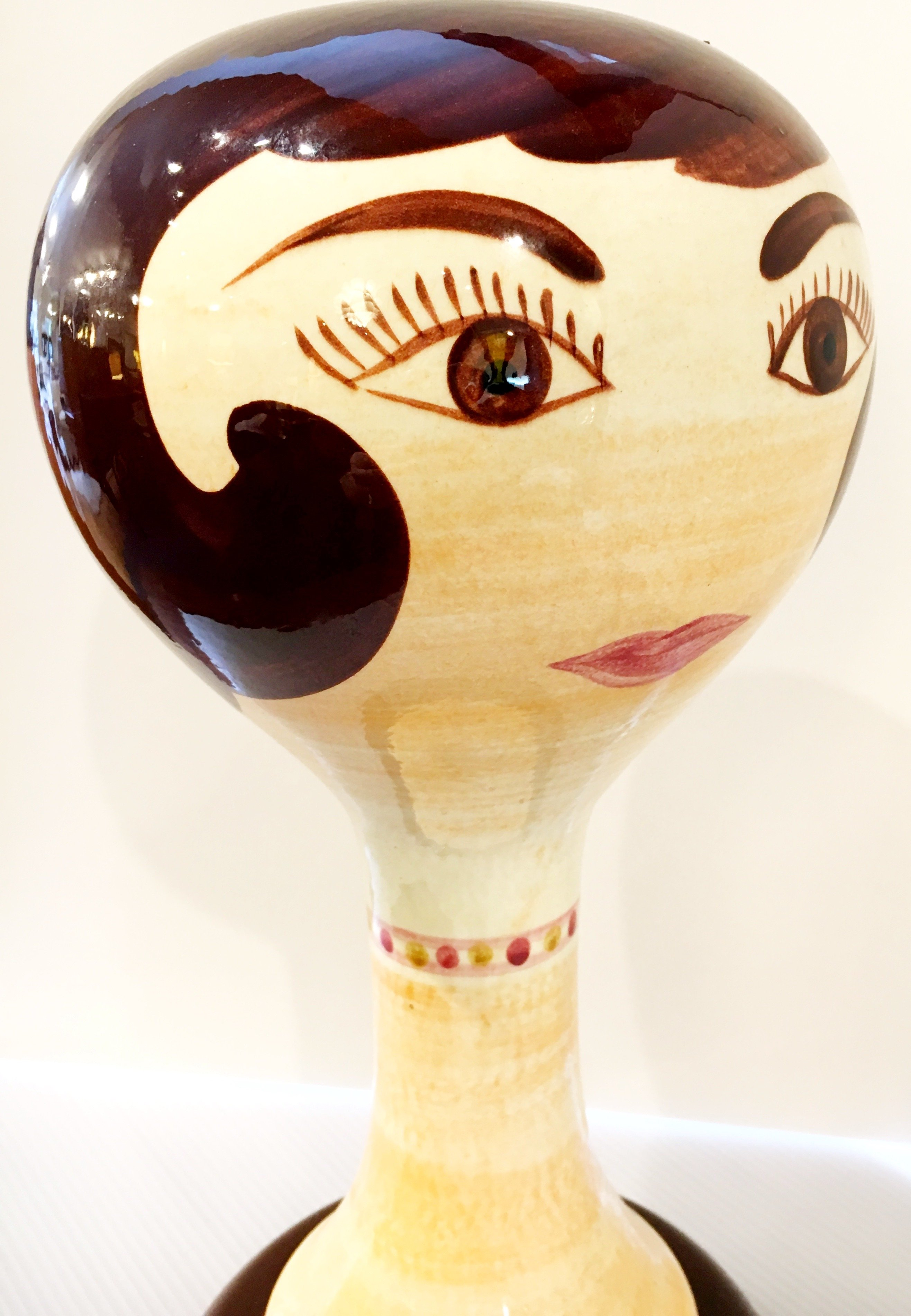 Rare Stangl Pottery Hat / Wig Stand, Brunette