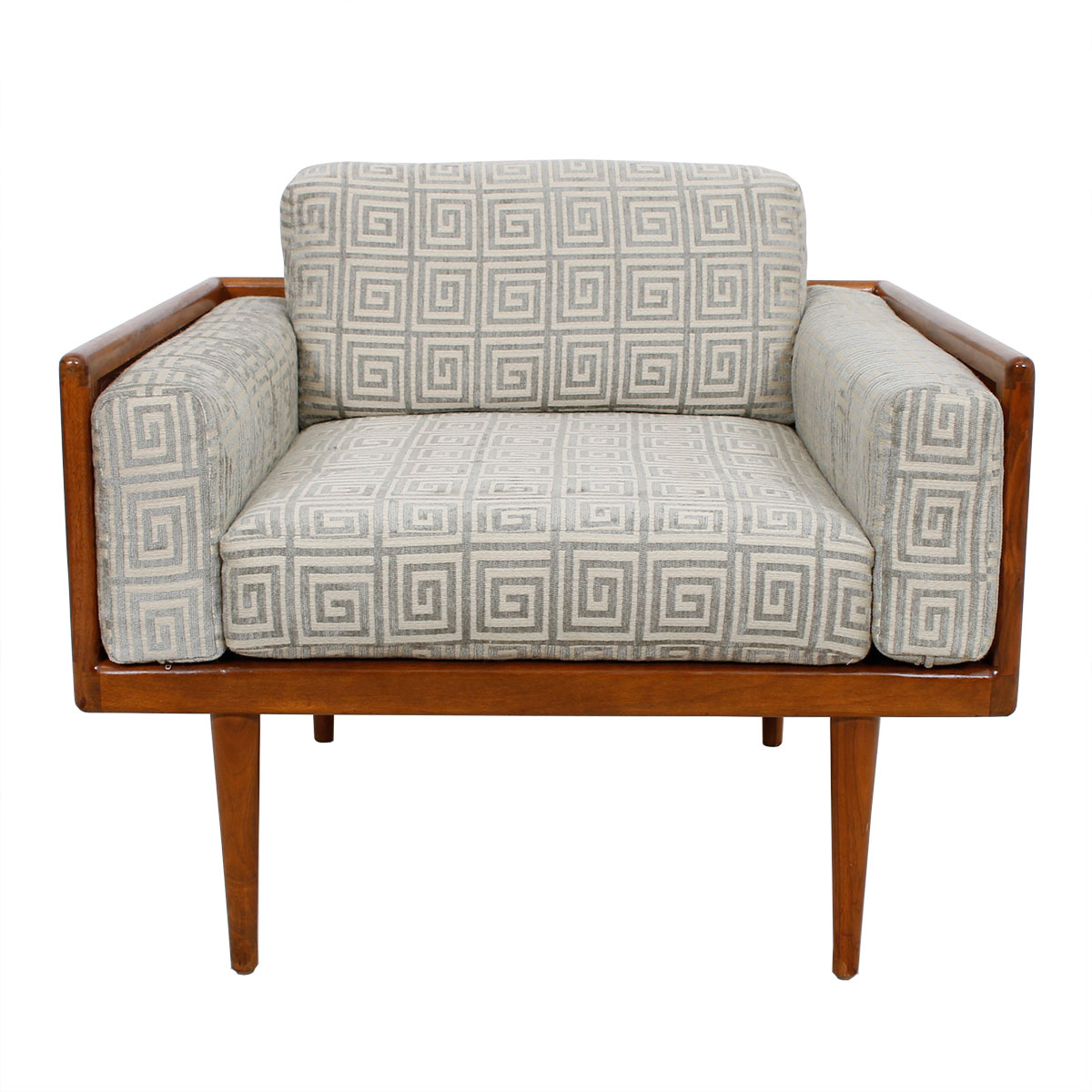 Luxurious Mel Smilow Walnut Lounge Chair w/ Greek Fret Pattern Upholstery